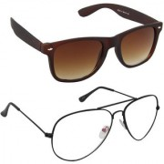Magjons Fashion Combo Of Brown And Clear Lens Aviator Sunglasses