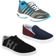 Chevit Men's Pack Of 3 Premium Outdoor Running Shoes With Sneakers and Loafers (Moccasins & Casuals Shoes)