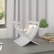 vidaXL Stojan na časopisy dřevěný, volně stojící, bílý
