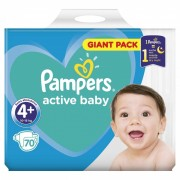 Scutece Pampers Active Baby 4+ Giant Pack, 70 buc/pachet
