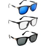 TheWhoop UV Protected Stylish Combo Wayfarer Day And Night Super Sunglasses For Men Women Boys Girls