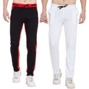 Cliths Men's Cotton Trackpants stylish/Joggers set of 2 Sports lowers for Men (Red Black White Black)