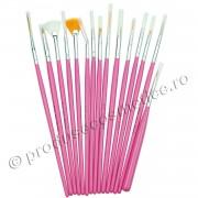 Set 15 Pensule Profesionale Nail Art pentru Pictura Unghiilor Pink