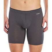 2(X)IST Men's Sliq Long Leg Boxer Brief, Jet Gray, Small