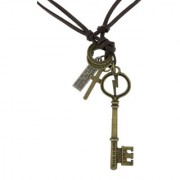 The Jewelbox Hip Hop Punk Key Energie 1983 Cross Bronze Vintage Leather Pendant Chain Necklace Men Boys