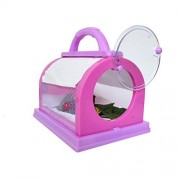 Aisa Explore Plastic Bugs Insects Feeding House Cage with Magnifier Tweezer Kit for Kids Children Toy Gift Pink