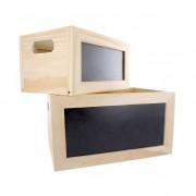Set 2 cutii depozitare din lemn cu tabla de scris cu creta