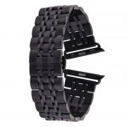 Voor Apple Watch 42mm verborgen Butterfly Buckle 7 parels roestvrij staal Watchband(Black)