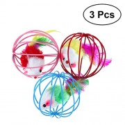 3Pcs Ball Shaped Cage with Prisoned Toy Mouse for Cat Cat Toy (Random Color)