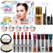 Color Diva Makeup Combo Sets With Skin Diva Skin Care Facail Kit-80g Pack of 19 Pc
