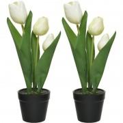 Shoppartners 2x Witte Tulipa/tulpen kunstplanten 27 cm in zwarte pot