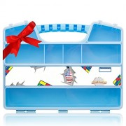 Figures carrying case box - American bricks | Easy to carry toy storage organizer by Ash Brand