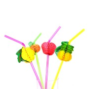 Kit Com 240 Canudos Frutas Para Drinks Coloridos