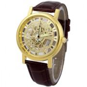 idivas 117 Round Dial Brown Leather Strap Quartz Watch For Men