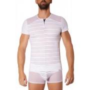 Lookme Fantasy Mesh Stripe Zipper Short Sleeved T Shirt White 906-81