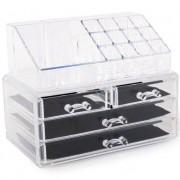 Organizator cosmetice din acril 4 sertare si 16 compartimente