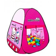 PoshTots Kids Jumbo Size Hello Kitty Style Tent House Pop up Play Tent Playhouse Multi-Color for Indoor Outdoor Use, Multi-Design (No Balls Include)