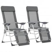 vidaXL Сгъваеми къмпинг столове с подложки, 2 бр, сиви, алуминиеви