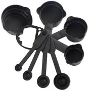 sell n retail Measuring Cup Baking Spoon Set of 8 black