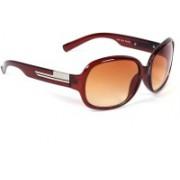 Eyeland Rectangular Sunglasses(Brown, Orange)