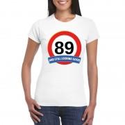 Bellatio Decorations 89 jaar verkeersbord t-shirt wit dames XS - Feestshirts