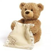 1 Piece Kids Medium Size Brown Stuffed Teddy Bear, Adorable Plush Toy Beige Soft Cuddly Animal Teddie, Cute Fun Comfy Peek A Boo Cream Colored Blanket, Polyester