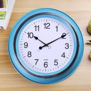 Home Office Room Metal Frame Silent No Marcando 14 Pulgadas Redondo Reloj De Cuarzo De Pared Decorativos (azul)