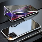 Bat Style Magnetic Installation Metal Frame + Tempered Glass Alll-side Protective Case for iPhone 11 Pro Max 6.5 inch (2019) - Silver