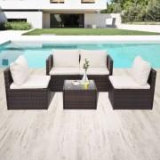 vidaXL 5-dielna záhradná sedacia súprava s vankúšmi polyratan hnedá