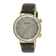 Simplify The 3300 Leather-Band Watch - Gold/Grey/Dark Brown SIM3305