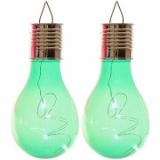 Lumineo 2x Buiten LED groene lampbolletjes solar verlichting 14 cm