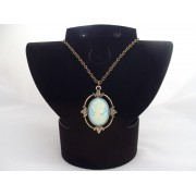 Colier bijuterie cu pandantiv camee bleu