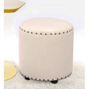 AZAZO Leatherette Round Ottoman in White Colour