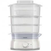 Уред за готвене на пара Philips HD9125/90 Daily Collection 3, 9 L, 900 W, съд за ориз/супа, инфузер за подправки и аромати, контейнер за яйца, бял