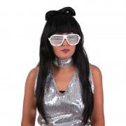 Merkloos Zwarte Lady Gaga pruik