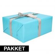 Shoppartners Aqua inpakpapier pakket met zilver lint en plakband