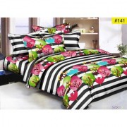 Luxmi Multi flowers Design 3D Double Bed sheets With 2 Piilow covers - Multicolor