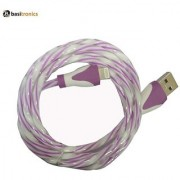 Basitronics Twisted Lightning to USB Charging and Data cable 3 feet 0.8 Meters Purple