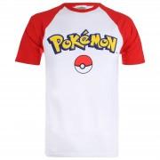 Creative Pokemon Logo Contrast Heren T-Shirt - Wit/Rood - XL - Wit