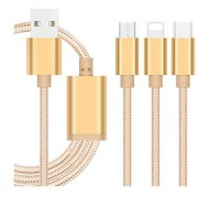 High Quality Nylon Braided Type-C Lightning Micro USB Data Cable 3 in 1 Fast Charge Stable Data Charging Cable - Gold