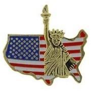 EE Metal Lapel Pin - New York - Statue of Liberty/Flag/USA Map