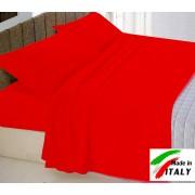 Completo Lenzuola Letto Matrimoniale Made in Italy Puro Cotone ROSSO