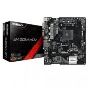 Дънна платка ASRock B450M-HDV, B450, AM4, DDR4, PCI-E(HDMI,DVI-D,D-Sub), 4x SATA 6Gb/s, 1x Ultra M.2, 6x USB 3.1 Gen1, mATX