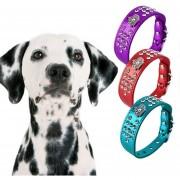 ER Bling Rhinestone Perro De Mascota Gato Del Perrito De La PU Collar De Cuero Cristal Diamantes Talla XS Rojo