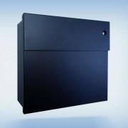 Radius Design Letterman 4 Briefkasten schwarz (RAL 9005) mit Klingel in rot mit Pfosten in Briefkastenfarbe