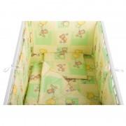 BabyNeeds Lenjerie patut 5 piese 120x60 cm Ursuleti colorati Verde