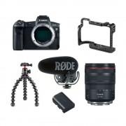 Canon Vloggkit med Canon EOS R, zoomobjektiv, kamerabur, stativ, mikrofon och extra batteri