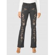 AMY VERMONT Jeans, Damen, grau, mit Blütenstickerei im Vorderteil