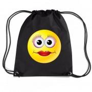 Bellatio Decorations Nylon emoticon smile diva rugzak zwart met rijgkoord