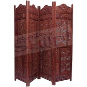 Shilpi Wooden Beautiful Hand Carving Screen Partition 4 Panel / Decorative Room Separator